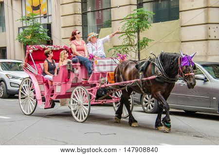 Montreal, Canada - July 26, 2014: Group of people taking tour in pink horse carriage in city.