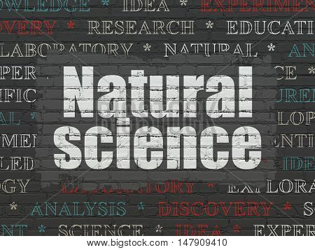 Science concept: Painted white text Natural Science on Black Brick wall background with  Tag Cloud