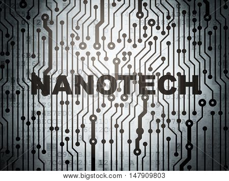 Science concept: circuit board with  word Nanotech, 3D rendering