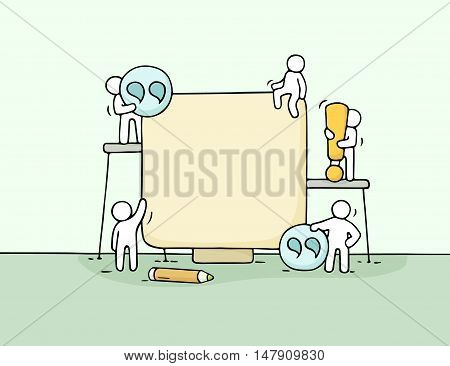 Cartoon working little people with quote. Doodle cute miniature scene of workers with blank space. Hand drawn cartoon vector illustration for business design.