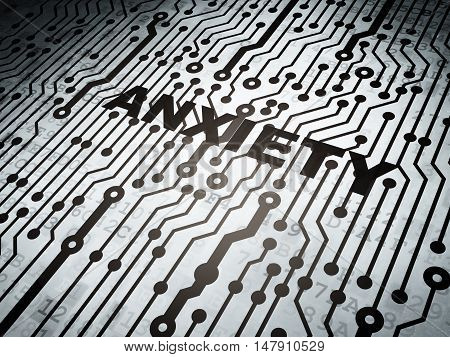 Health concept: circuit board with  word Anxiety, 3D rendering