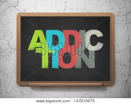 Health concept: Painted multicolor text Addiction on School board background, 3D Rendering