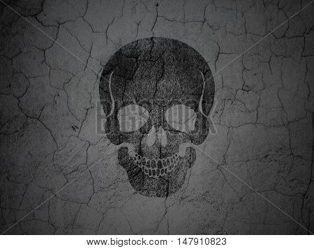 Medicine concept: Black Scull on grunge textured concrete wall background
