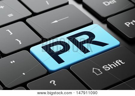 Advertising concept: computer keyboard with word PR, selected focus on enter button background, 3D rendering