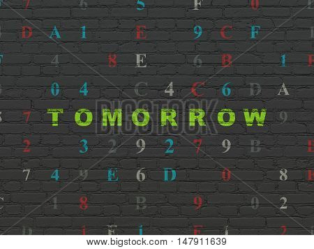 Time concept: Painted green text Tomorrow on Black Brick wall background with Hexadecimal Code