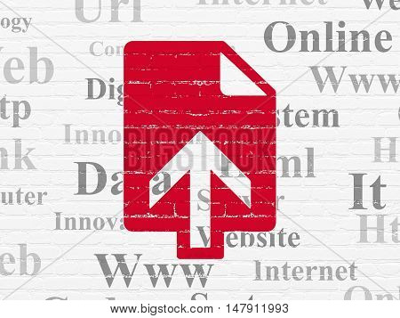 Web development concept: Painted red Upload icon on White Brick wall background with  Tag Cloud