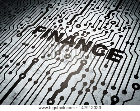 Finance concept: circuit board with  word Finance, 3D rendering