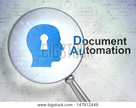 Business concept: magnifying optical glass with Head With Keyhole icon and Document Automation word on digital background, 3D rendering