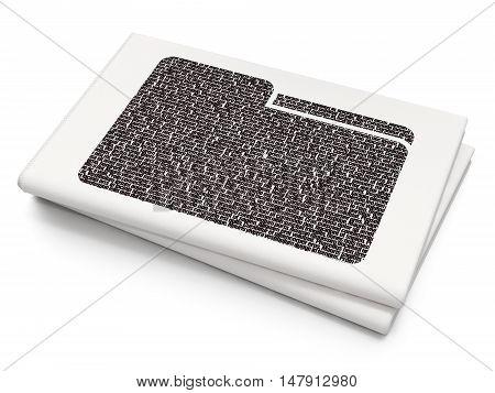Finance concept: Pixelated black Folder icon on Blank Newspaper background, 3D rendering