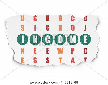 Finance concept: Painted green word Income in solving Crossword Puzzle on Torn Paper background