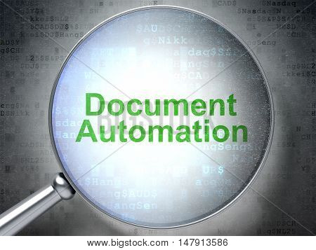 Business concept: magnifying optical glass with words Document Automation on digital background, 3D rendering