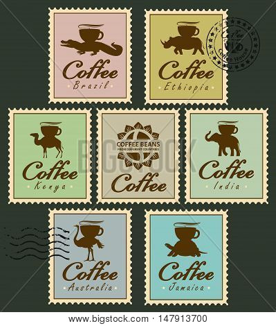Set of stamps with pictures of animals from different countries carrying coffee