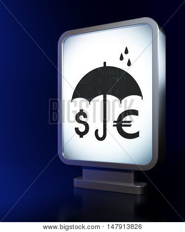 Privacy concept: Money And Umbrella on advertising billboard background, 3D rendering