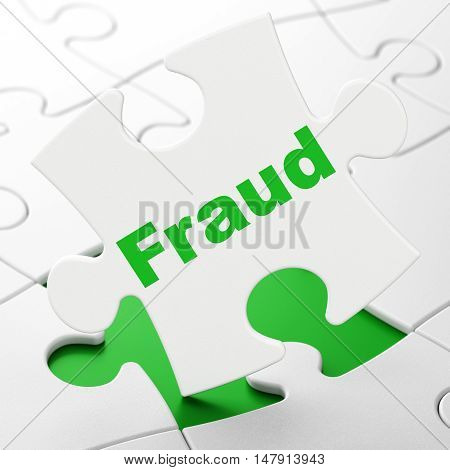 Protection concept: Fraud on White puzzle pieces background, 3D rendering