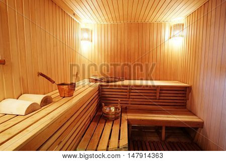 Interior of a steam room in Russian bath