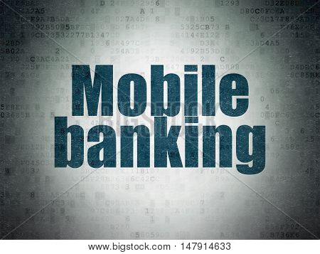 Banking concept: Painted blue word Mobile Banking on Digital Data Paper background
