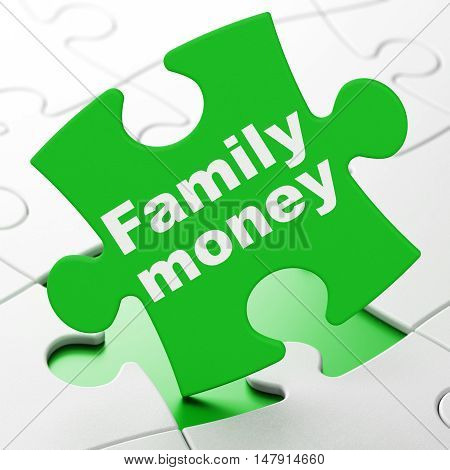 Money concept: Family Money on Green puzzle pieces background, 3D rendering