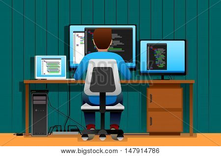 A vector illustration of a Man Working in Front of His Computer