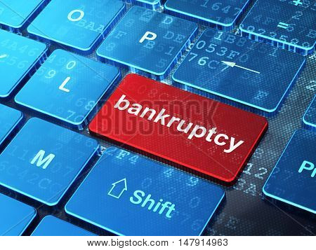 Currency concept: computer keyboard with word Bankruptcy on enter button background, 3D rendering