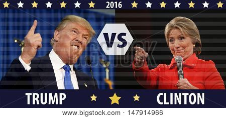 Donald Trump VS Hillary Clinton combination illustration