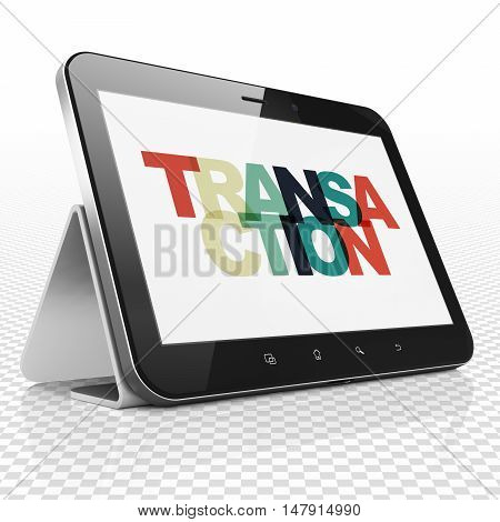 Banking concept: Tablet Computer with Painted multicolor text Transaction on display, 3D rendering