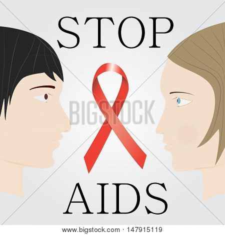 Stop Aids Concept With Faces Of Man And Woman Opposite Each Othe