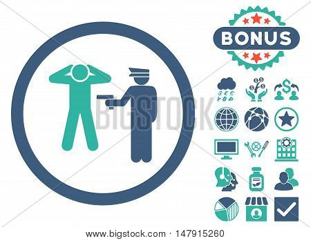 Arrest icon with bonus pictogram. Glyph illustration style is flat iconic bicolor symbols, cobalt and cyan colors, white background.