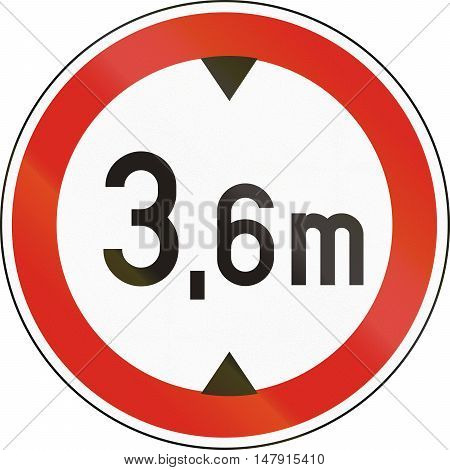 Road Sign Used In Hungary - No Vehicles Having An Overall Height Exceeding 3,6 Meters