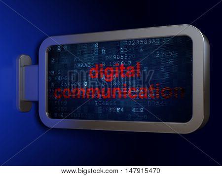 Data concept: Digital Communication on advertising billboard background, 3D rendering