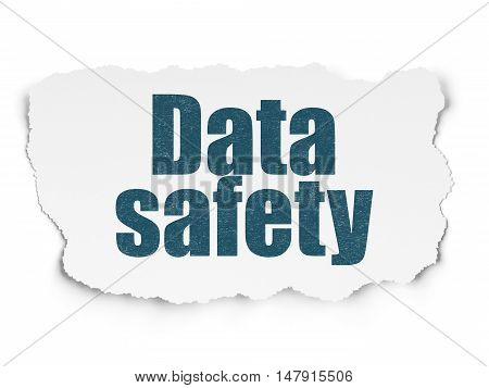 Information concept: Painted blue text Data Safety on Torn Paper background with  Binary Code