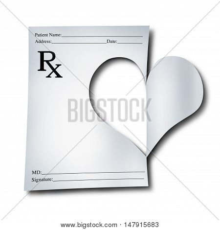 Medicine concept for healthcare as a paper medical prescription note that has been cutout in the shape of a heart as a symbol for doctor or pharmacist care with 3D illustration elements.
