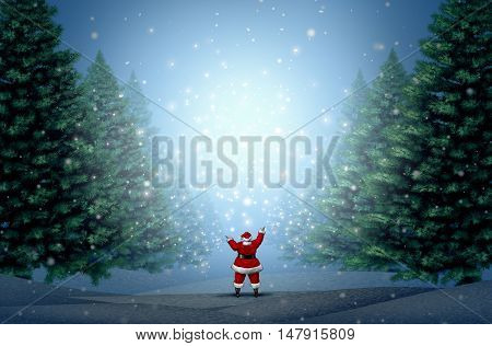 Magical Christmas background with Santa Clause standing in a blue winter forest with magic lights and glowing glitter with copy space as a holiday greeting for hope and a happy New Year with 3D illustration elements.