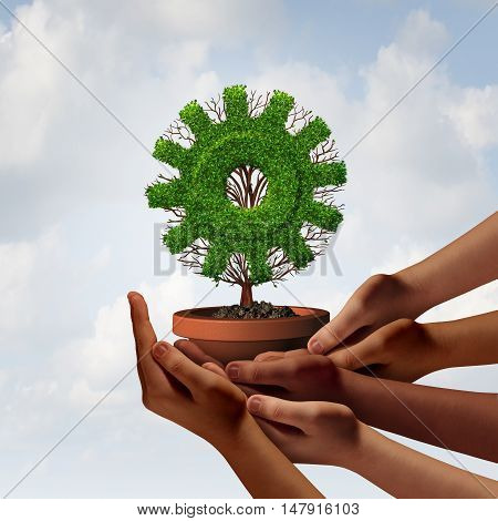 Diversity business growth and teamwork partnership as a group of diverse ethnic hands providing support to a tree shaped as a corporate industry gear symbol as a team cooperation metaphor with 3D illustration elements.