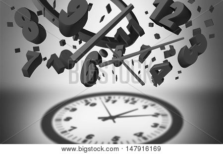 Concept of time management and controlling business planning efficiency as a group of falling clock pieces creating an organized cast shadow of a complete watch as a work planner success symbol as a 3D illustration.