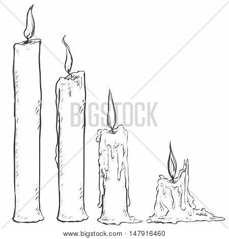 Vector Set Of Sketch Candles.