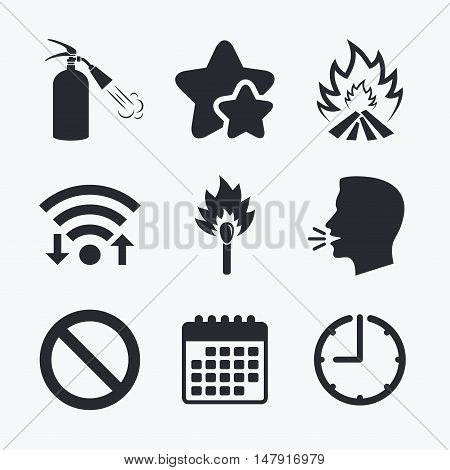 Fire flame icons. Fire extinguisher sign. Prohibition stop symbol. Burning matchstick. Wifi internet, favorite stars, calendar and clock. Talking head. Vector