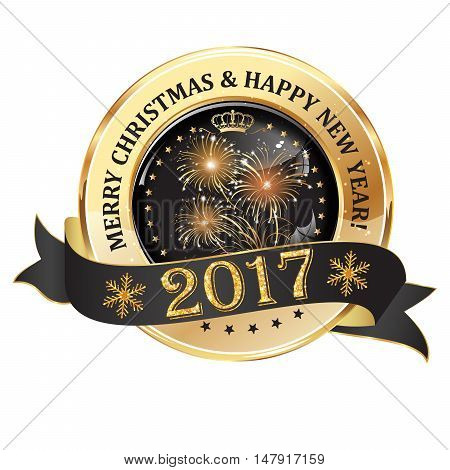 Merry Christmas and Happy New Year 2017 - luxurious icon with fireworks and snowflakes