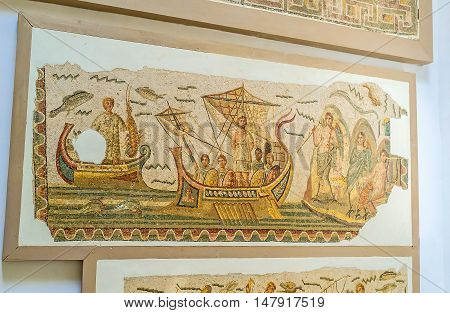 TUNIS TUNISIA - SEPTEMBER 2 2015: The mosaic Roman Galley sailing in sea Bardo National Museum on September 2 in Tunis.