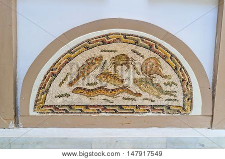 TUNIS TUNISIA - SEPTEMBER 2 2015: The mosaic with the fishes and sea creatures in Bardo National Museum on September 2 in Tunis.