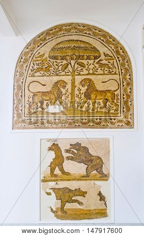 TUNIS TUNISIA - SEPTEMBER 2 2015: The mosaics in Bardo National Museum with the fighting lions and bears on September 2 in Tunis.