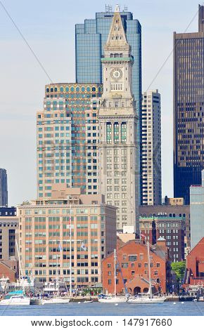 Boston Custom House and Long Wharf in Financial District, Boston, Massachusetts, USA