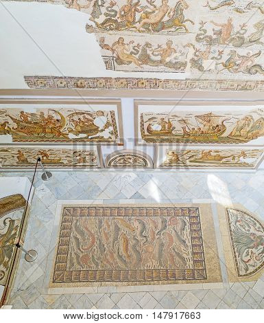 TUNIS TUNISIA - SEPTEMBER 2 2015: The sea themes are very popular in the ancient roman mosaics exhibited in Bardo National Museum on September 2 in Tunis.