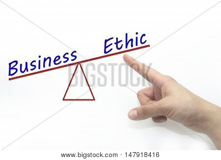 business and ethic balance. Business ethics and marketing concept.