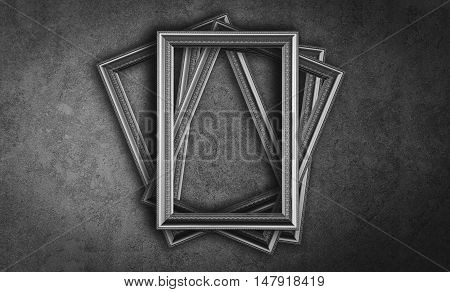 Black and White vintage photo frame gray background