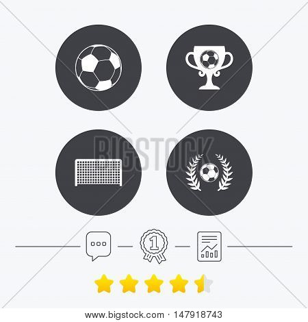 Football icons. Soccer ball sport sign. Goalkeeper gate symbol. Winner award cup and laurel wreath. Chat, award medal and report linear icons. Star vote ranking. Vector
