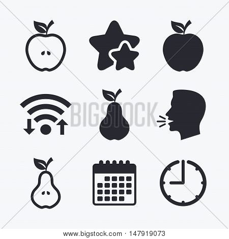 Fruits with leaf icons. Apple and Pear with seeds signs. Natural food symbol. Wifi internet, favorite stars, calendar and clock. Talking head. Vector