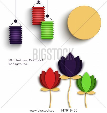 Mid Autumn Festival beautiful origami styled image on a white background. The Full Moon Chines holyday, vector illustration