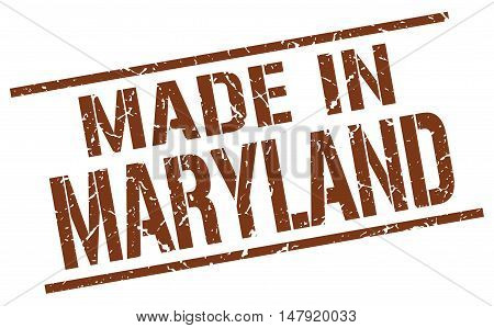made in Maryland. Stamp. Square grunge sign