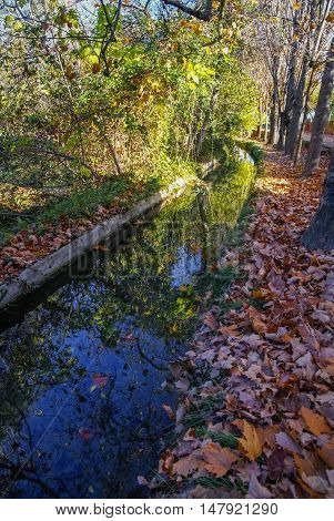 Autumn Landscape With Colorful Leaves, River And Reflections In Water