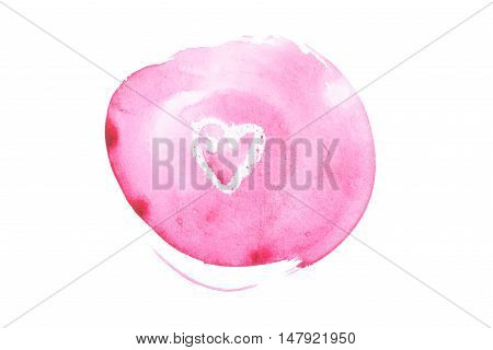 Watercolor aquarelle hand painted pink art paint splatter stain with a heart shape.